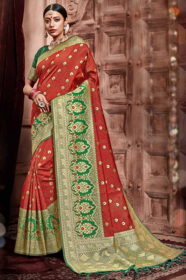 Graceful Red Silk Fabric Weaving Work Designer Saree With Border Work Blouse