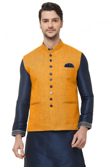Heavy Designer Mustard Jute Fabric Only Jacket