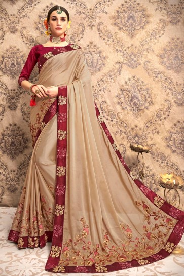 Party Wear Embroidered Designer Beige Silk Fabric Saree And Blouse
