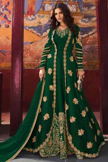Green Silk Net Fabric Sequins And Stone Work Abaya Style Anarkali Suit And Dupatta