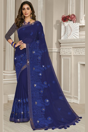 Classic Blue Georgette Fabric Embroidery Work Designer Saree With Thread Work Blouse
