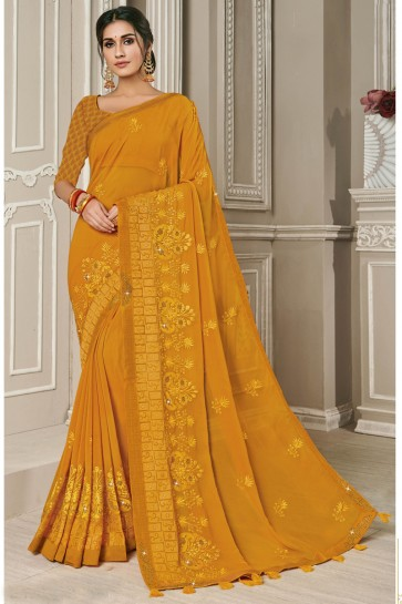 Mustard Embroidery Work Georgette Fabric Designer Saree With Thread Work Blouse
