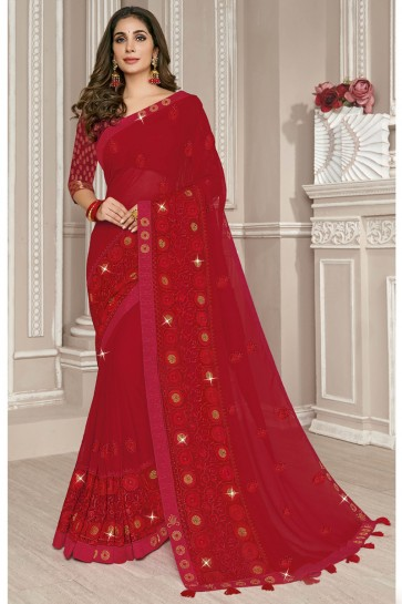 Georgette Silk Fabric Red Embroidery Work Designer Stylish Saree And Blouse