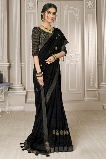 Marvelous Georgette Fabric Black Embroidery Work Designer Saree With Silk Blouse