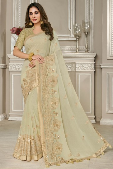 Embroidered Designer Beige Georgette Fabric Saree With Silk Blouse