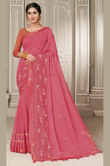Heavy Designer Embroidered Pink Georgette Fabric Saree With Silk Blouse