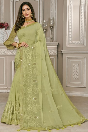 Olive Georgette Fabric Embroidery Work Designer Solid Saree With Silk Blouse