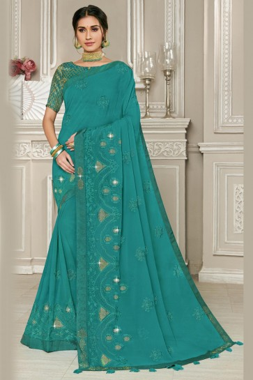 Fascinating Embroidery Work Georgette Fabric Designer Teal Saree And Blouse