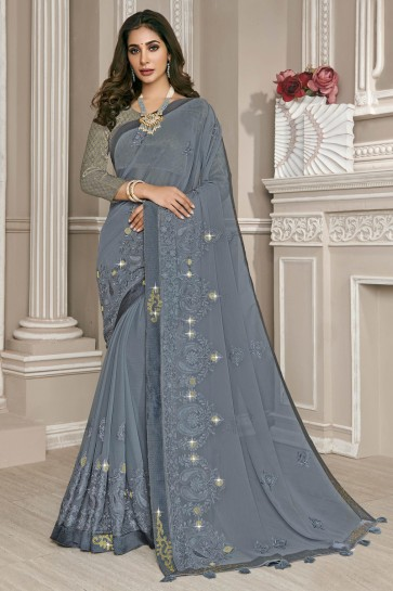 Georgette Fabric Grey Embroidery Work Designer Saree With Thread Work Blouse