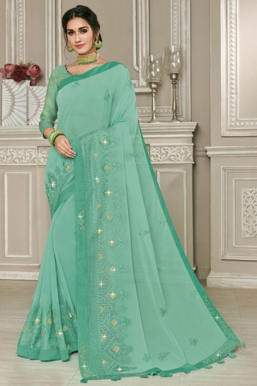 Sea Green Embroidered Designer Georgette Saree With Silk Blouse