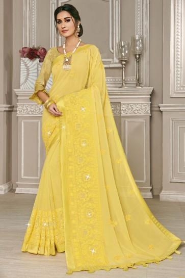 Yellow Embroidered Georgette Designer Saree With Silk Blouse