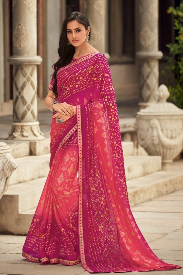 Embroidered Designer Chiffon Fabric Pink Saree And Blouse