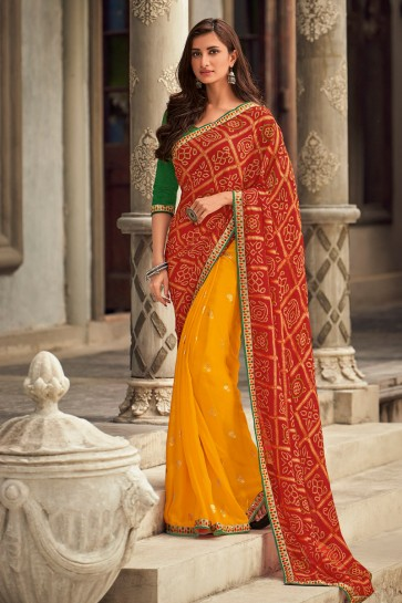 Stunning Embroidered Designer Yellow And Maroon Chiffon Fabric Saree And Blouse