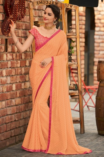 Party Wear Peach Embroidered Designer Chiffon Fabric Saree And Blouse