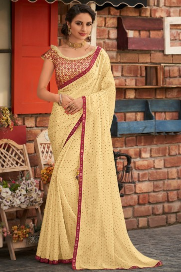 Yellow Chiffon Fabric Designer Embroidered Designer Saree And Blouse