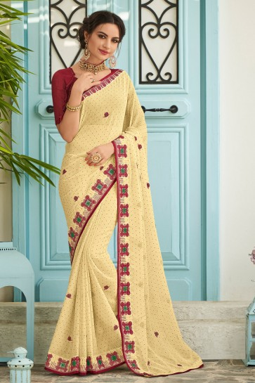 Awesome Yellow Embroidered Designer Chiffon Fabric Saree And Blouse