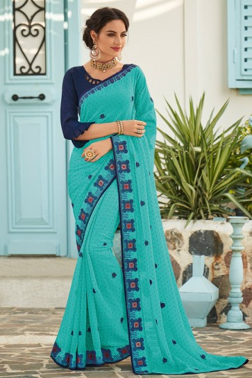 Dazzling Chiffon Fabric Light Blue Embroidered Designer Saree And Blouse
