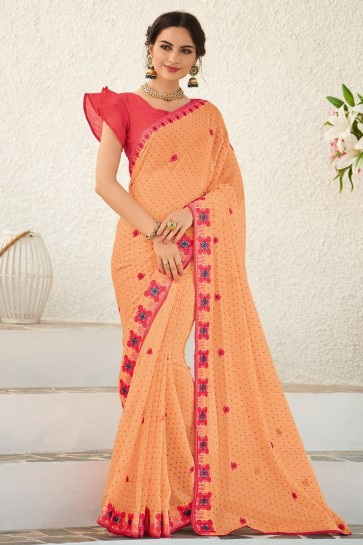 Chiffon Fabric Embroidered Designer Peach Saree And Blouse