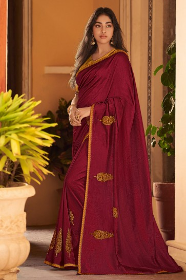 Graceful Maroon Chiffon Fabric Embroidered Designer Saree And Blouse