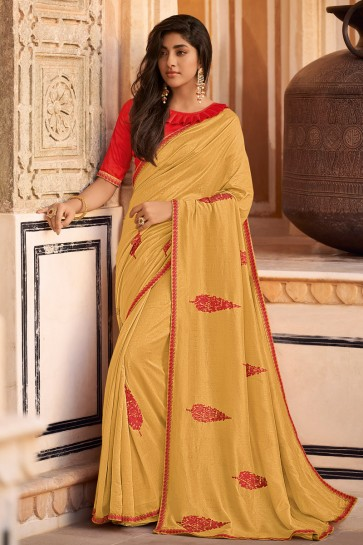 Embroidered Designer Chiffon Fabric Mustard Saree And Blouse
