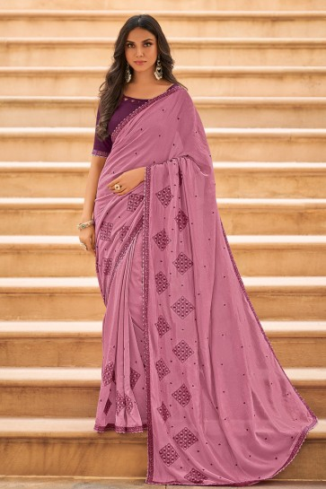 Stunning Embroidered Designer Wine Chiffon Fabric Saree And Blouse
