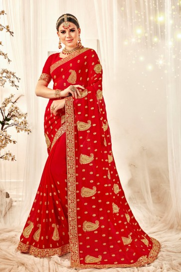 Embroidered And Zari Work Designer Georgette Fabric Red Saree And Blouse