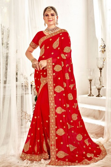 Dazzling Georgette Fabric Red Embroidered And Zari Work Designer Saree And Blouse