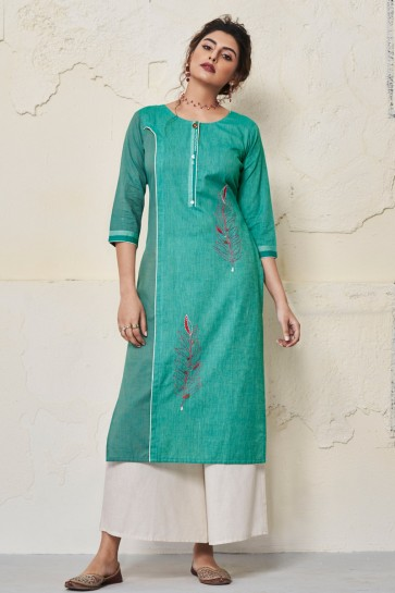 Gorgeous Aqua Cotton Hand Work Kurti