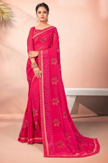Georgette Fabric Pink Embroidered Designer Saree And Blouse