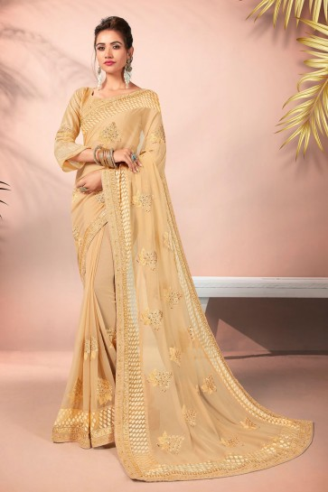 Party Wear Cream Embroidered Designer Georgette Fabric Saree And Blouse