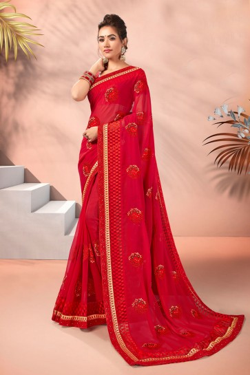 Red Georgette Fabric Embroidered Designer Saree And Blouse