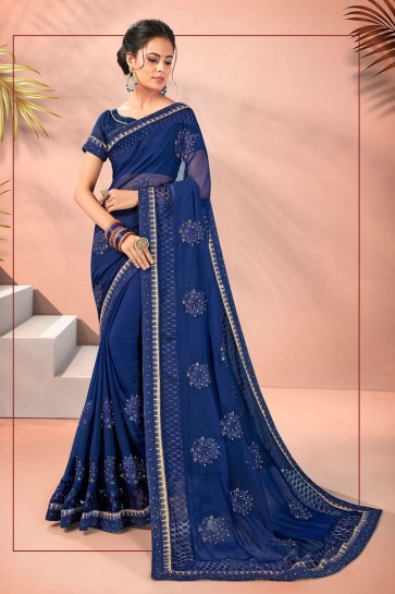 Awesome Blue Embroidered Designer Georgette Fabric Saree And Blouse