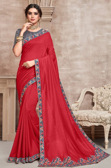 Silk Fabric Red Embroidered Designer Saree With Border Work Blouse