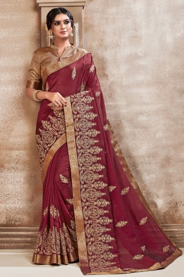 Awesome Maroon Embroidered Designer Silk Fabric Saree With Border Work Blouse