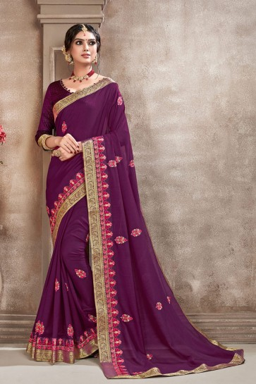 Dazzling Silk Fabric Purple Embroidered Designer Saree With Border Work Blouse