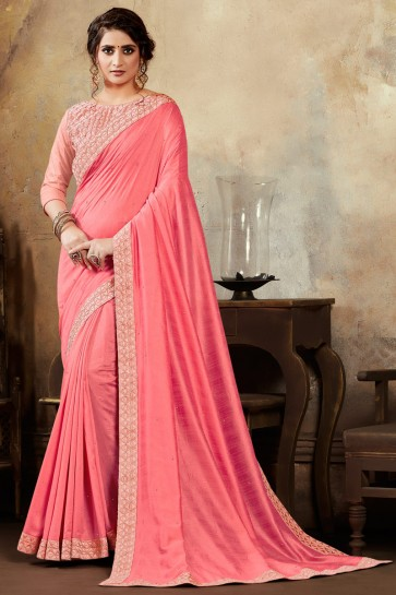 Baby Pink Silk Fabric Embroidered Designer Saree And Blouse