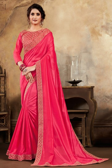 Pink Embroidered Designer Silk Fabric Saree And Blouse