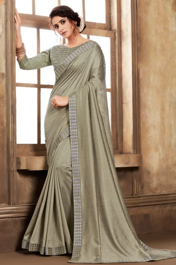 Silk Fabric Grey Embroidered Designer Saree And Blouse