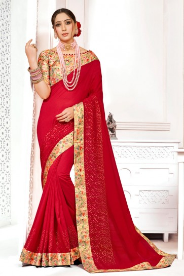 Appealing Silk Fabric Red Printed And Stone Work Designer Saree With Border Work Blouse