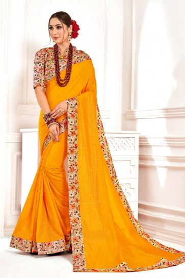 Gorgeous Printed And Stone Work Designer Yellow Silk Fabric Saree With Border Work Blouse