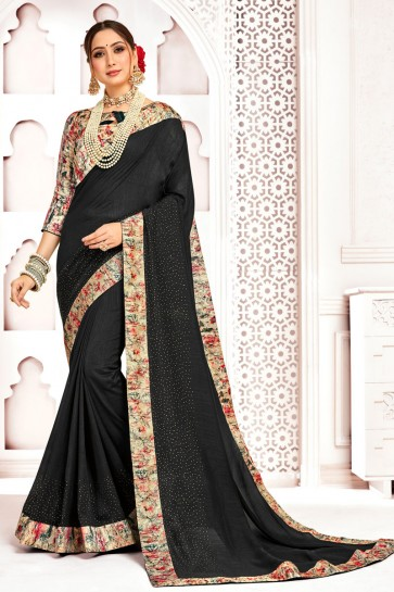 Pleasing Black Silk Fabric Printed And Stone Work Designer Saree With Border Work Blouse