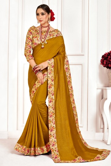 Excellent Silk Fabric Printed And Stone Work Designer Khaki Saree With Border Work Blouse