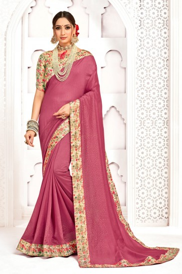 Excellent Silk Fabric Printed And Stone Work Designer Pink Saree With Border Work Blouse