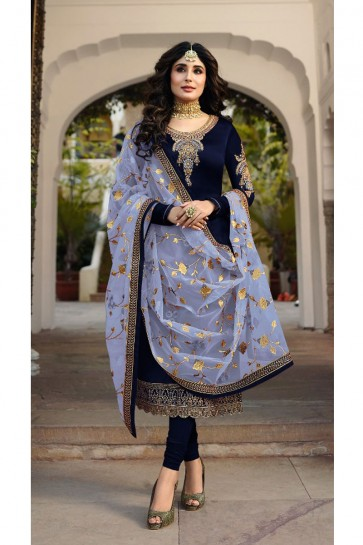Kritika Kamra Charming Navy Blue Embroidered And Stone Work Georgette Satin Salwar Kameez With Net Dupatta