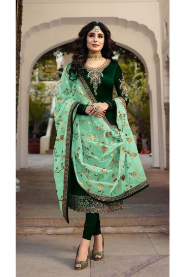 Kritika Kamra Gorgeous Green Embroidered And Stone Work Georgette Satin Salwar Suit With Net Dupatta