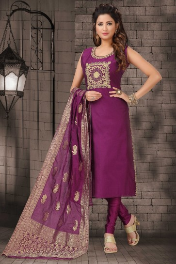 Party Wear Violet Bhagalpuri Silk Zari Work Casual Salwar Kameez With Brocade Dupatta