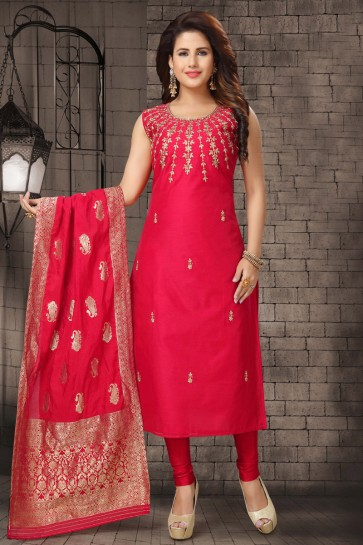 Red Bhagalpuri Silk Zari Work Designer Casual Salwar Suit With Brocade Dupatta
