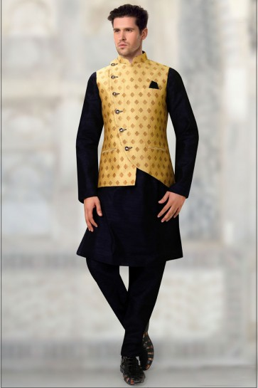 Yellow Brocade Fabric Only Jacket