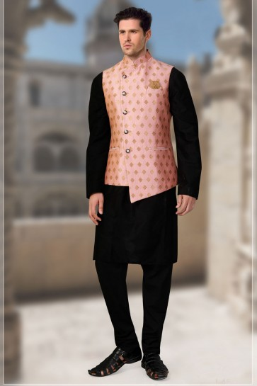 Peach Brocade Fabric Only Jacket