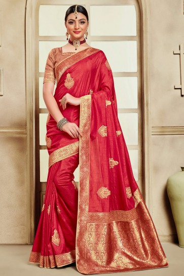 Beautiful Silk Fabric Red Embroidered And Jaquard Work Designer Saree With Border Work Blouse